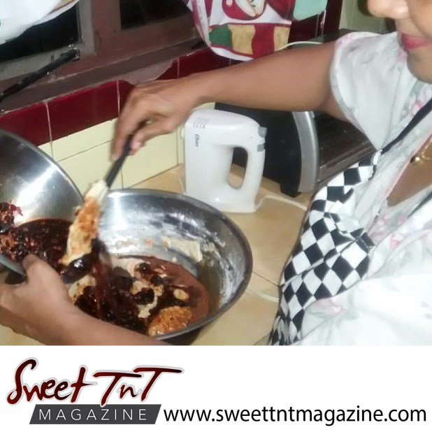 Radha Ramoutar making her Christmas fruit cake. Scents of cakes.