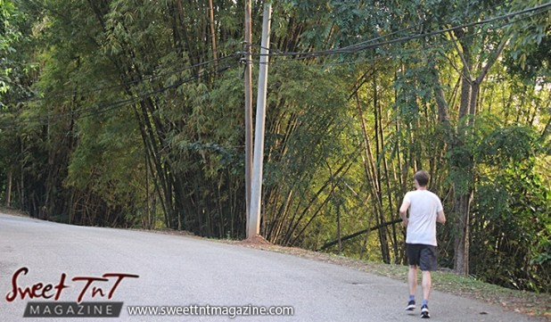 Caucasian man jogging exercising on Lady Chancellor Hill Port of Spain for story original outdoor gym in Sweet T&T, Sweet TnT, Trinidad and Tobago, Trini, vacation, travel