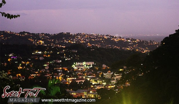 Sunset over Gonzales in city of Port of Spain from Lady Chancellor Hill in sweet t&t for Sweet TnT Magazine in Trinidad and Tobago for tourists, photography, scenic views, vacation, travel