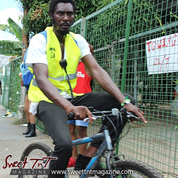 Bicycle security on Ariapita Avenue, Carnival 2017 in sweet T&T for Sweet TnT Magazine, Culturama Publishing Company, for news in Trinidad, in Port of Spain, Trinidad and Tobago, with positive how to photography.