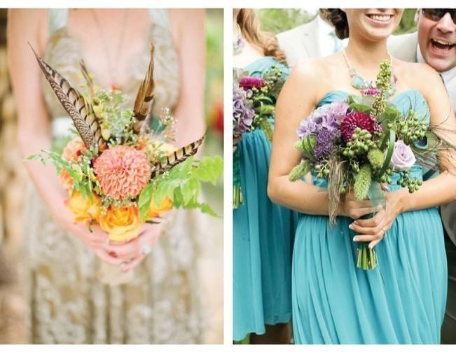 pheasant feather bouquet