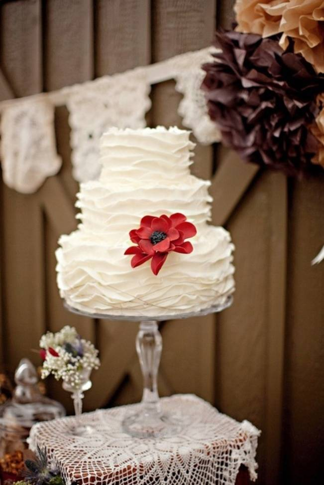 simple fall wedding cake red