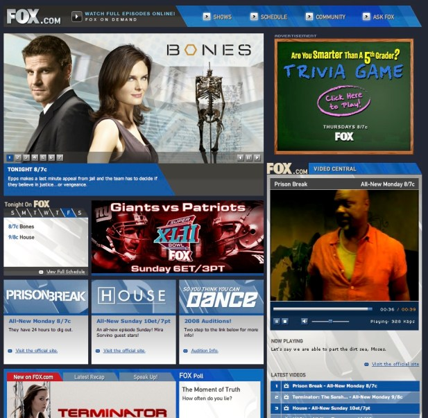 Fox Homepage Before Redesign