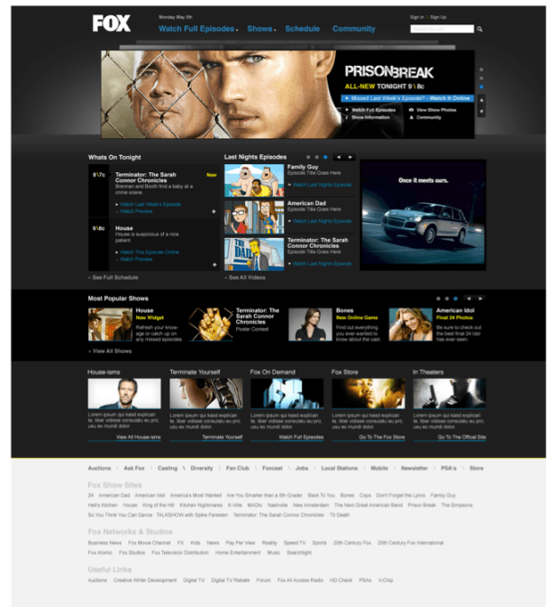 Fox.com Homepage Redesign with Carousel