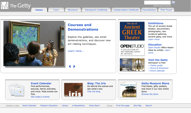 Getty.edu Redesign Homepage