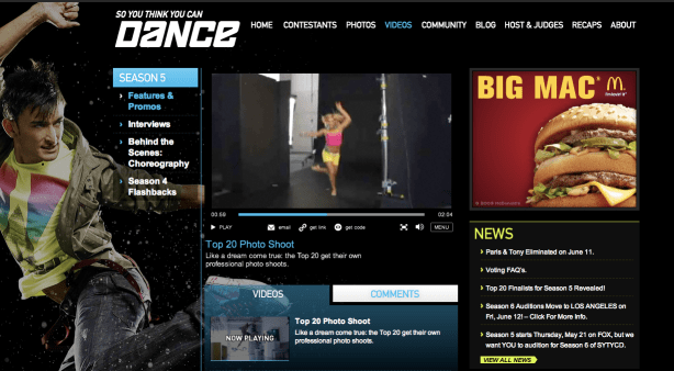 So You Think You Can Dance Custom Brightcove Video Player