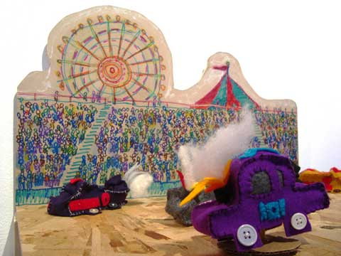 Crash Car Derby puppet show by Christine Cosby.