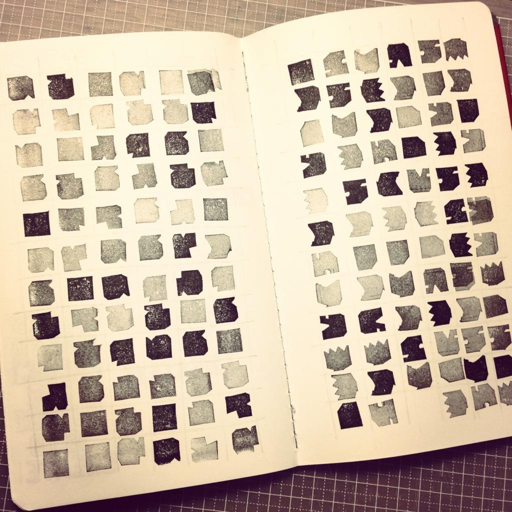 消しゴムはんこを使ってパターンを作ってみたら、楽しい!