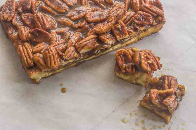 Williamsburg Inn Pecan Bars. A pecan pie like filling seated on top of a lemony shortbread crust.