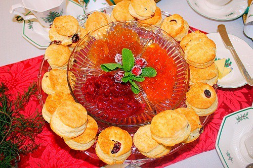 Orange Cranberry Biscuits with Strawberry Jam, Pear Preserves and Apricot Preserves