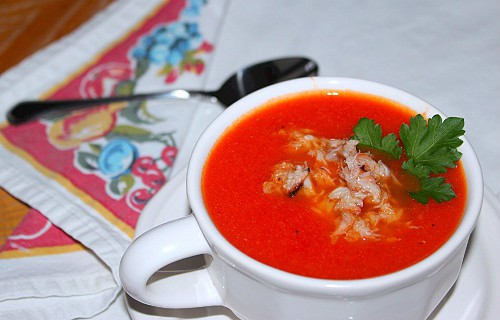 Roasted Red Pepper and Tomato Soup with Crab ~ Syrup and Biscuits