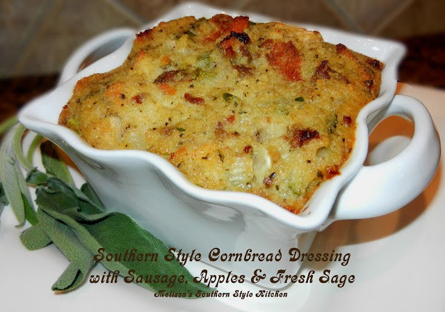 Southern Style Cornbread Dressing with Sausage Apples and Sage/Melissa ...