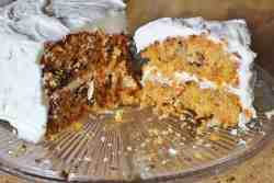 Carrot Cake. A moist cake made from lots of fresh shredded carrots, pecans, raisins and spices with a Cream Cheese Icing.