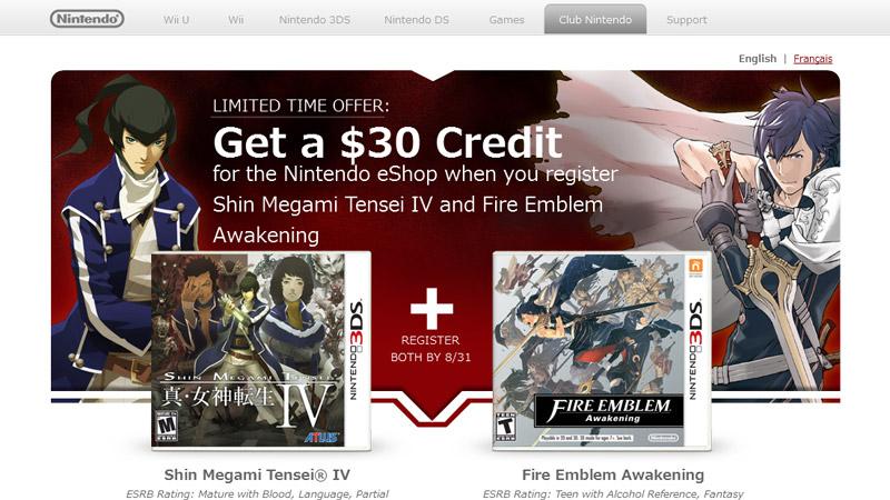 Club Nintendo- $30 Credit for Shin Megami Tensei IV and Fire Emblem Awakening