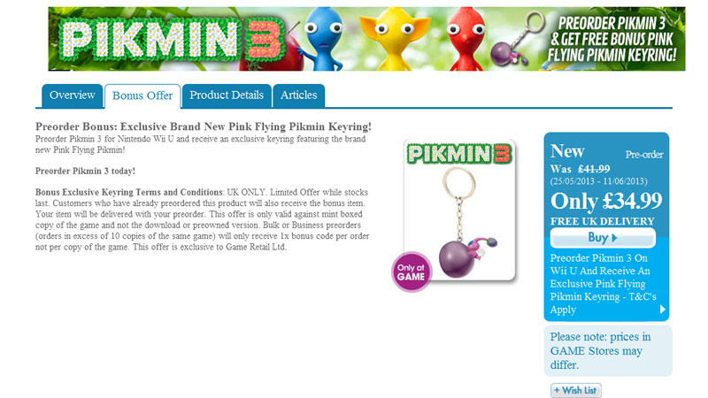 Preorder Bonus: Exclusive Brand New Pink Flying Pikmin Keyring!