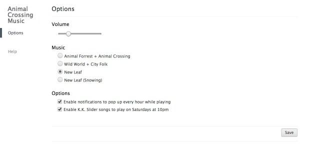 Animal Crossing Music - options