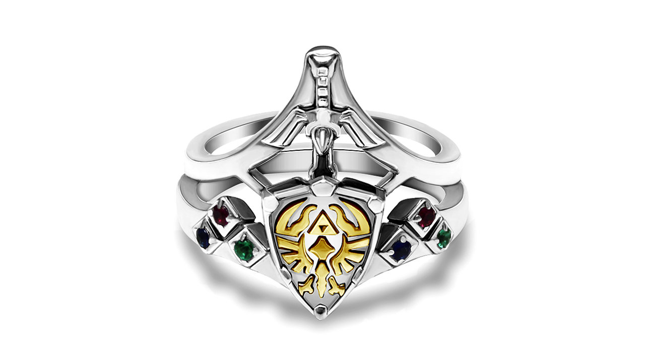 t011.org 2つ合わせて1つの指輪に、『ゼルダの伝説』ハイリアの盾&マスターソードデザインのブライダルリング