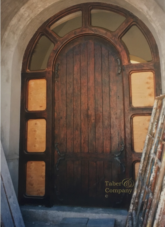 Wood entry doors with sidelights custom made taber for Custom transom