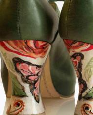 Zapato tacon arty pintado a mano verde cordones piel