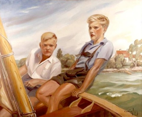 Craigher - summer scene with two boys in the sail boat off coast landscape