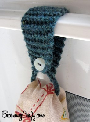 knitted kitchen towel hanger with button