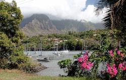 Tahina at anchor in Hiva Oa, French Marquesas
