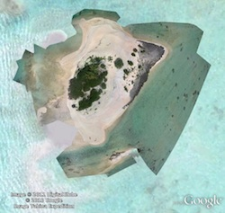 Tikehau motu kite aerial photo in Google Earth
