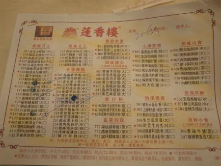 メニューは勿論中国語で意外に想像しづらい