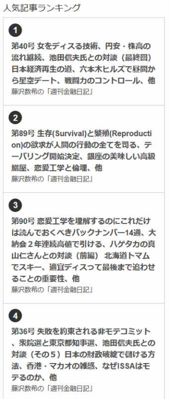 BLOGOS有料メルマガ人気記事ランキングの1位~10位を藤沢数希の「週刊金融日記」が独占している件について (1)