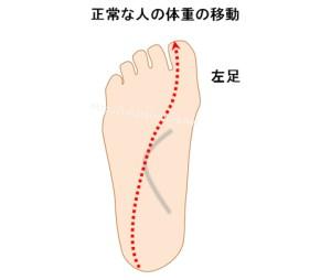 正常な人の足裏の体重の移動