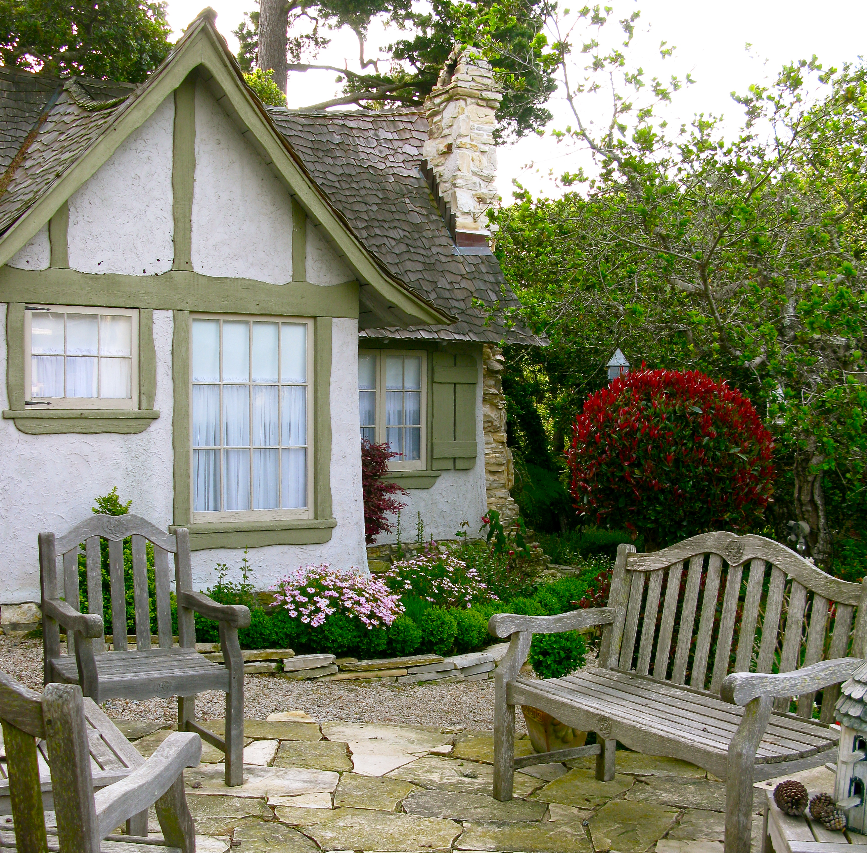 Dark House Hasweared Hansel But Hugh Fairy Tale Cottages In Now I Am Delighted By Obvious Care New Owner Is Puttinginto Carmel Stone Patio To West Side curbed Hansel And Gretel House