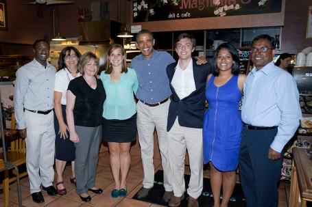 President Barack Obama meets with college students former college students, and parents for lunch at Magnolia's Deli & Café, during the college affordability bus tour in Rochester, New York, Aug. 22, 2013. (Official White House Photo by Chuck Kennedy) This photograph is provided by THE WHITE HOUSE as a courtesy and may be printed by the subject(s) in the photograph for personal use only. The photograph may not be manipulated in any way and may not otherwise be reproduced, disseminated or broadcast, without the written permission of the White House Photo Office. This photograph may not be used in any commercial or political materials, advertisements, emails, products, promotions that in any way suggests approval or endorsement of the President, the First Family, or the White House.