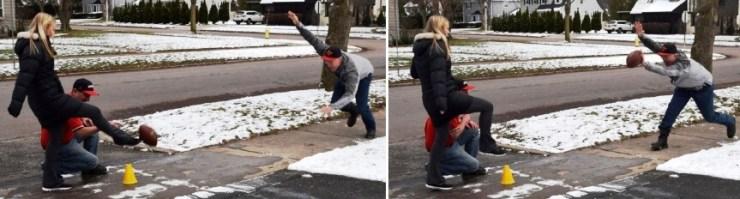 Phil Ghyzel blocks that kick [Photo: Rebecca Ghyzel, 12/16/18]