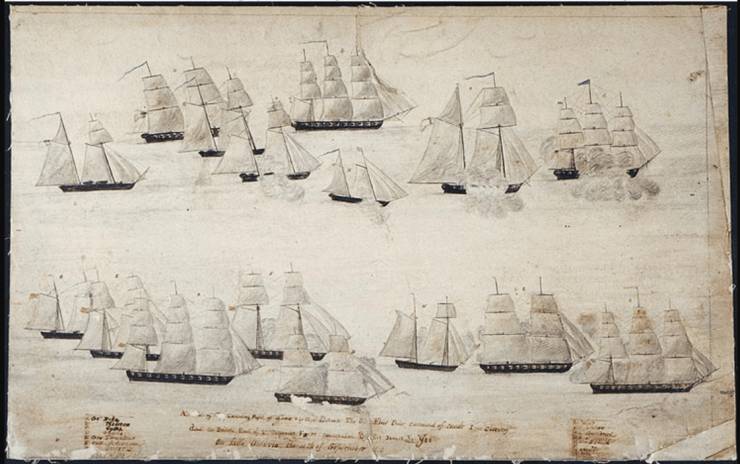 Naval Action off Charlotte Sept. 11, 1813 by Masters Mate Peter Spicer