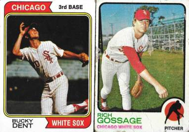Bucky Dent (Topps 1974) and Goose Gossage (Topps 1973) Rookie Cards. In the 1978 playoff game, Dent had the game winning RBI and Gossage saved the game in the 9th inning [David Kramer's collection]