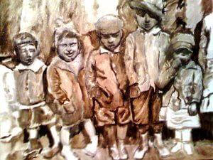 """Immigrant Children, 1890s,"" oil on canvas (14x20), 2009, (Offered at $2,200)"