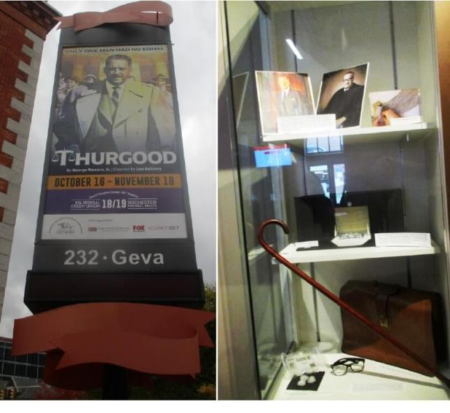 (l) Outside GeVa; (r) Thurgood display case inside GeVa, 11/03/18