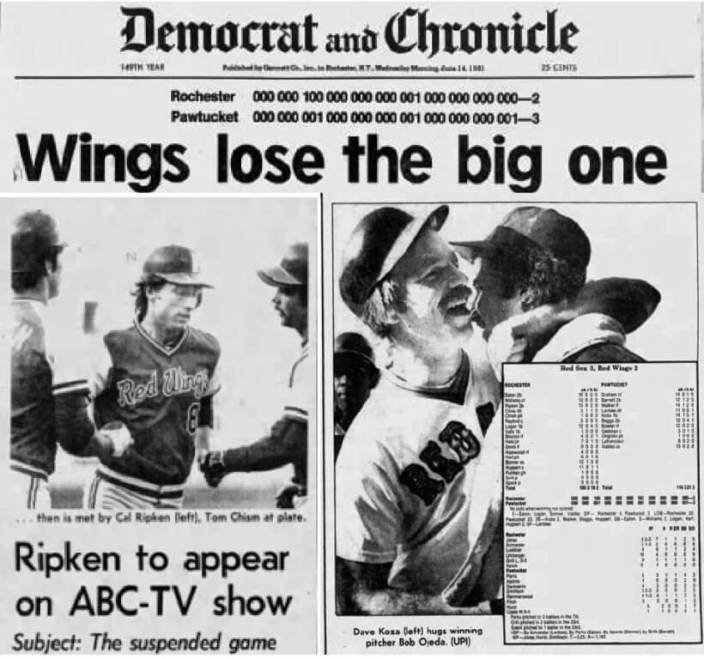 Rochester Democrat and Chronicle, (top) June 24, 1981, front page; (bottom left) June 23rd Cal Riken Jr. interviewed by ABC about the game suspended in April, (bottom right) June 24th (sports section)
