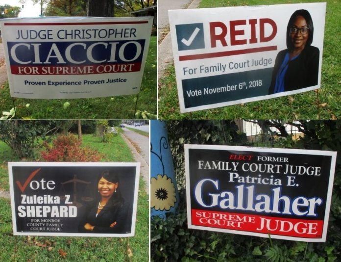 """The signs for Christopher Ciaccio , Fatimat Reid and Zuleika Shepard are on the front lawn of Brighton Town Supervisor Bill Moehle. Patricia Gallagher's sign is on Monroe Avenue in the city. Bill also has a Morelle sign. When I was taking the pictures, a car drove past and the passenger yelled, """"Vote for Maxwell!"""""""