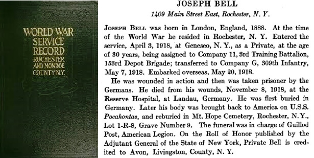 Account of JosephhBell's death on November 8th, 1918 from