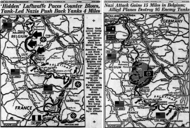(left) Democrat and Chronicle, Dec 19, 1944; (right) Democrat and Chronicle, Dec 18, 1944