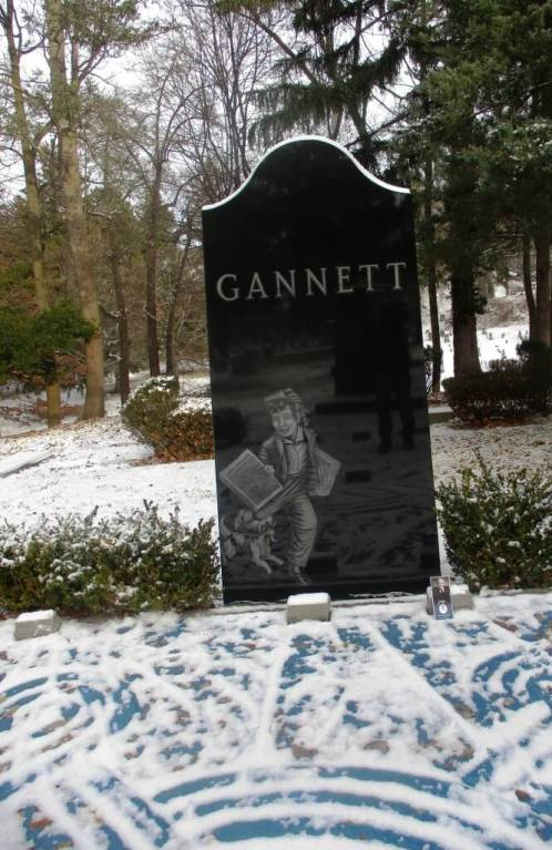 Frank Gannett's gravesite, Mt. Hope Cemetery, Rochester, NY, 12/31/18. [Photo: David Kramer]