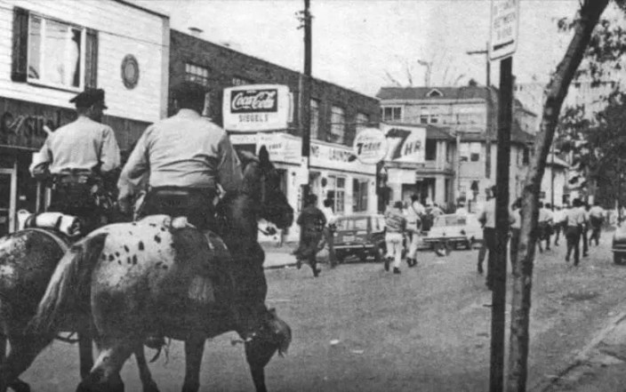 Police Charging Down Marshall Street - Sept. 26, 1970 newspaper photo