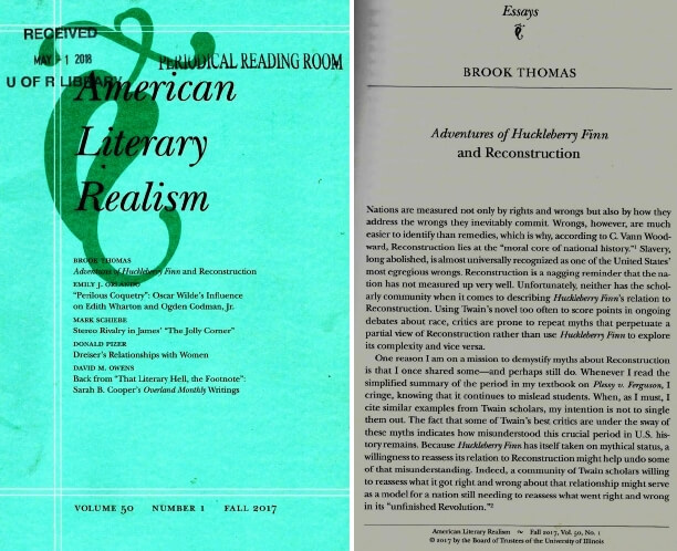 American Literary Realism, 1870 - 1910, Volume 50, Number 1, Fall 2017.