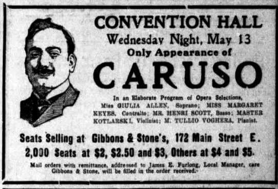 Caruso's Convention Hall notice