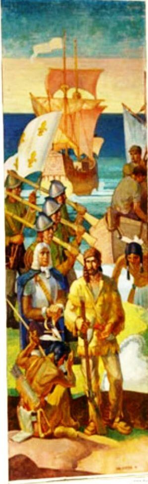 One of the Carl Peter's murals depicting Native Americans and early European exporers, in Charlotte High School. The French, 1615-1763: The Explorers of the Genesee and Gov. Denonville's Army