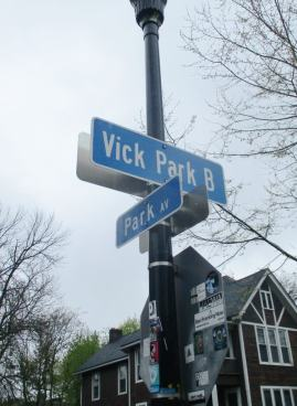 Intersection of Park and Vick Park B [Photo: David Kramer, 5/12/19]