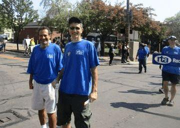 David Kramer (left) and Stefan Cohen at the 2015 Labor Day Parade