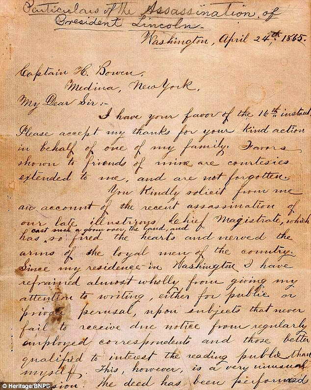 Mr Jones wrote the letter to Captain H. Bowen 10 days after the assassination at Ford's Theatre on April 14