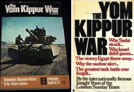 (left) Yom Kippur War: Ballantine's Illustrated History of the Violent Century, 1974 (amazon.com); (right) The Yom Kippur War, Doubleday & Company, 1974 [Held at and scanned courtesy of the Rochester Public Library